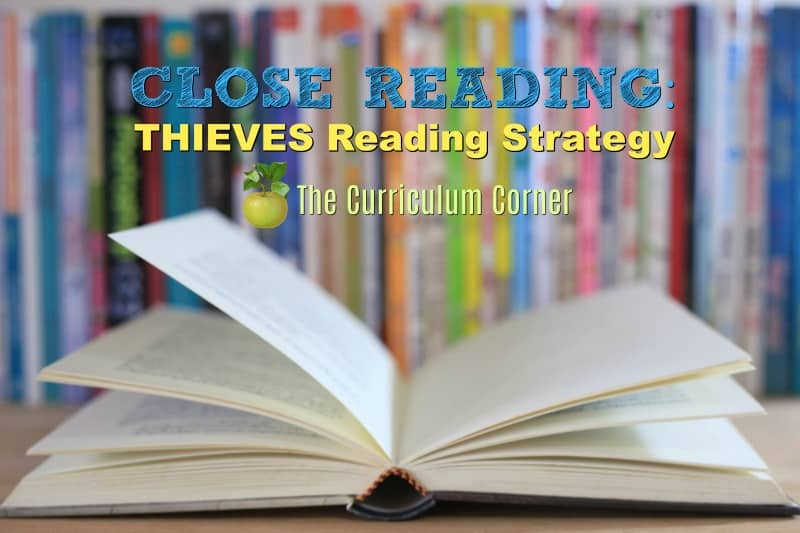 This free focus on close reading resource helps you teach students about the THIEVES informational text reading strategy.