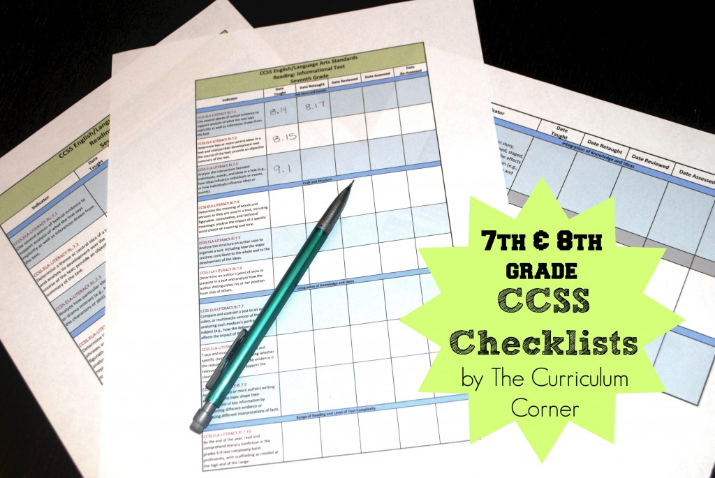7th & 8th Grade CCSS Checklists for Common Core FREE from The Curriculum Corner