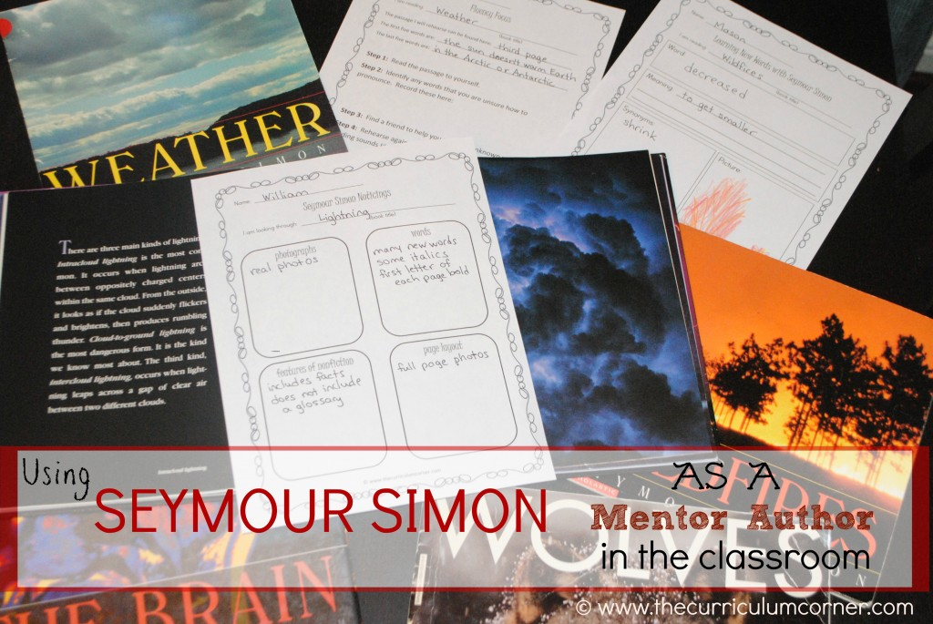 Seymour Simon as  a Mentor Author in the classroom | anchor chart, lesson ideas and more all FREE from The Curriculum Corner
