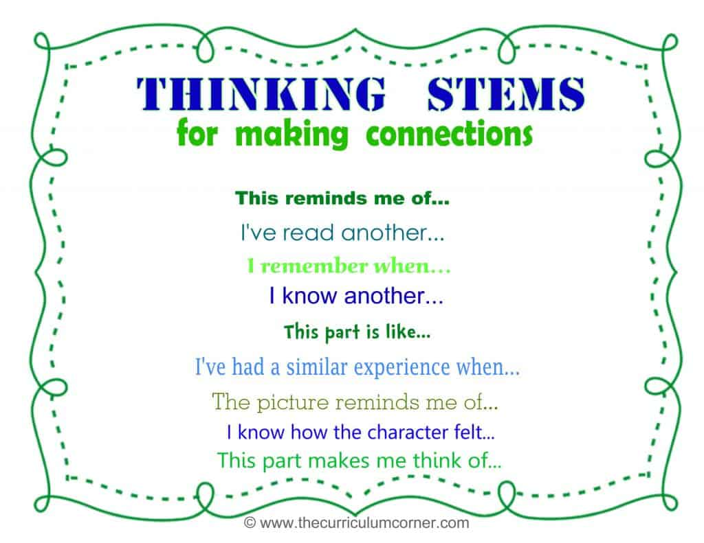 Making Connections Thinking Stems FREE from The Curriculum Corner plus lots of graphic organizers