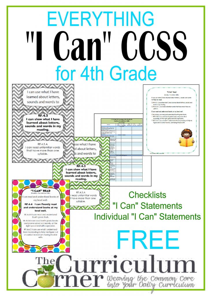 """Everything """"I Can"""" Common Core for Fourth Grade FREE from The Curriculum Corner 