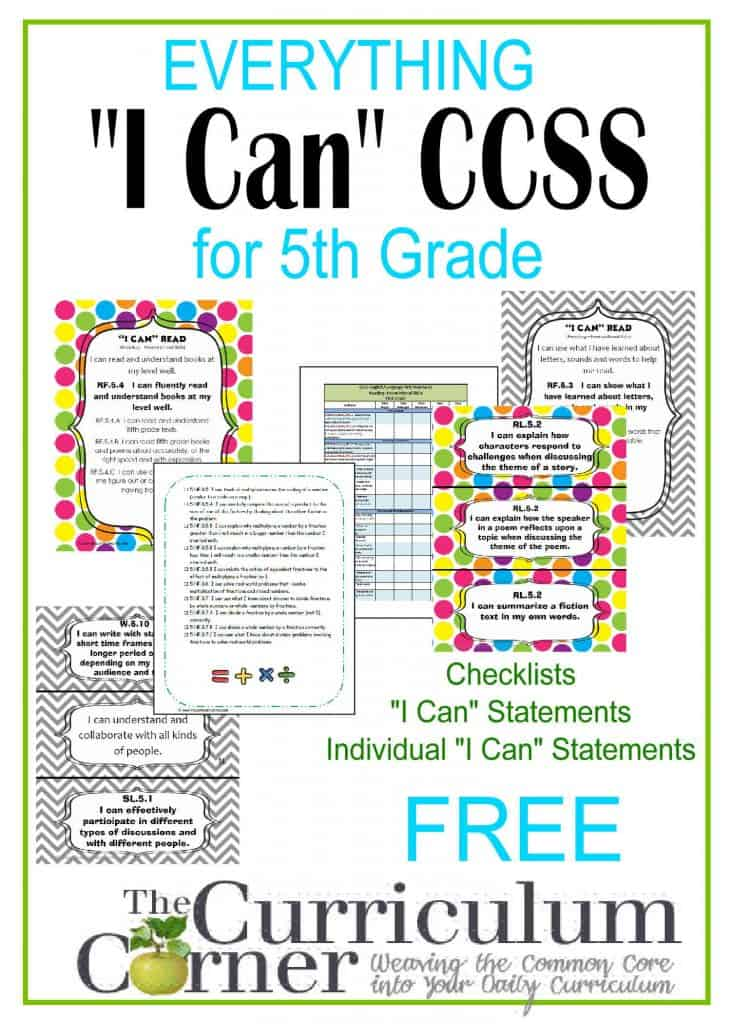 """I Can"" Common Core Statements for CCSS free from The Curriculum Corner 