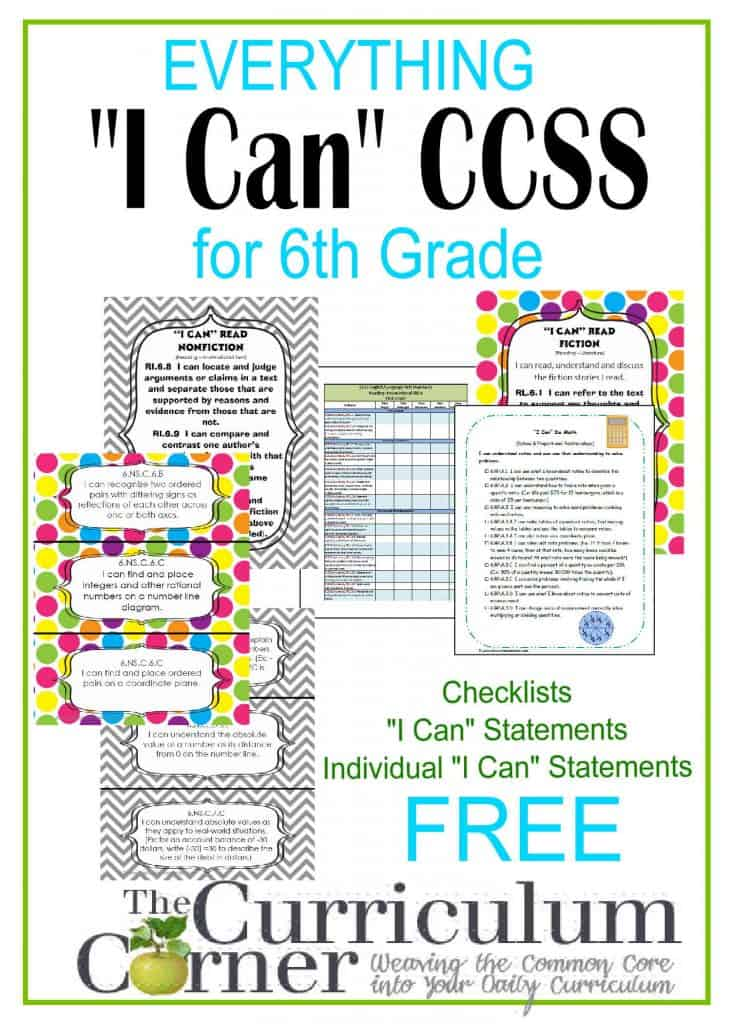 """6th Grade """"I Can"""" Common Core Statements for CCSS free from The Curriculum Corner 