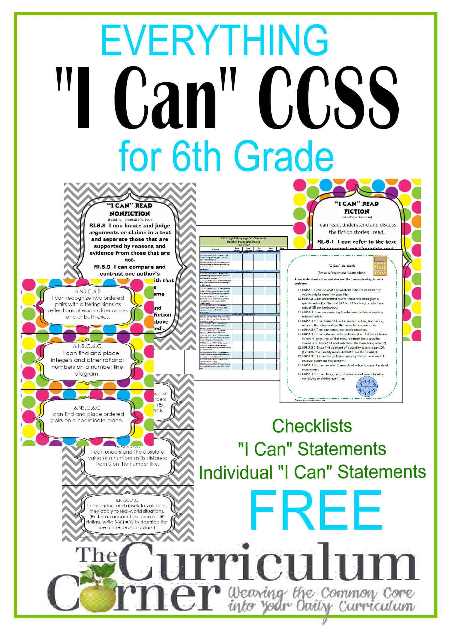 "Everything ""I Can"" Common Core for 6th Grade"