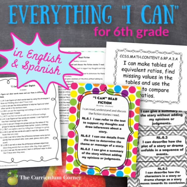 """Everything """"I Can"""" Common Core for 6th Grade"""