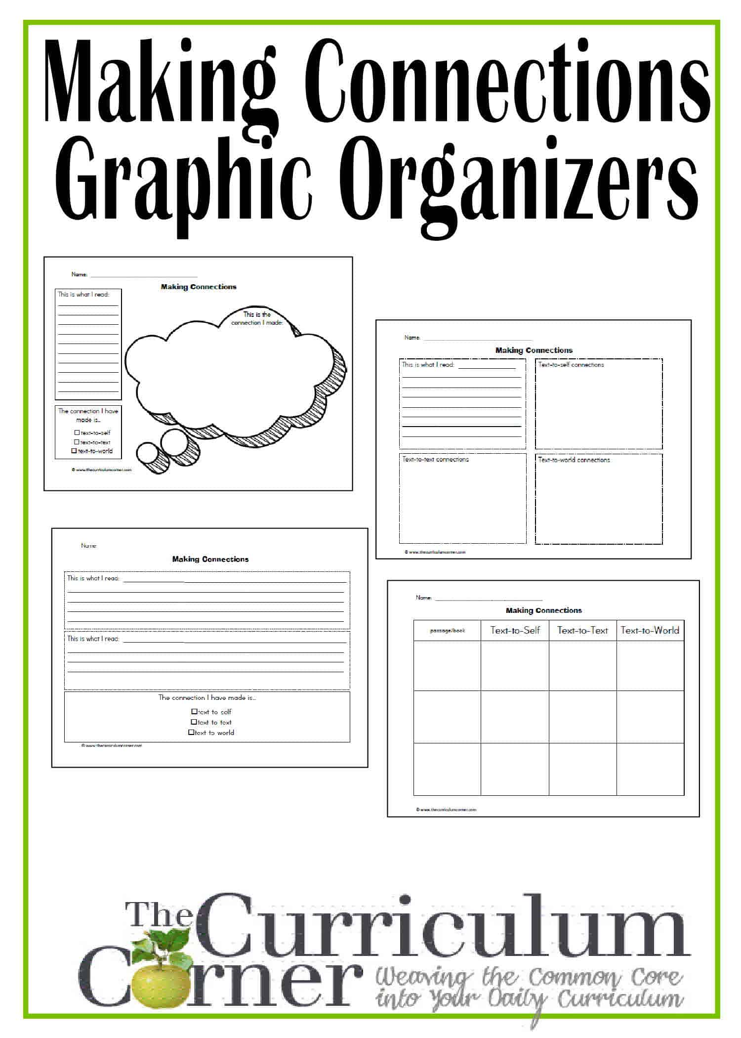 worksheet Making Connections Worksheet close reading making connections while the curriculum graphic organizers free from corner