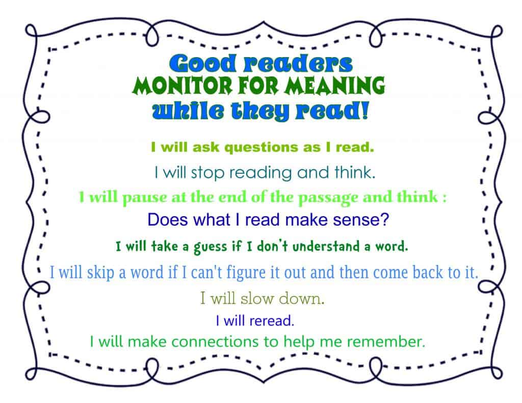 Monitoring for Meaning Anchor Chart for Close Reading free from The Curriculum Corner