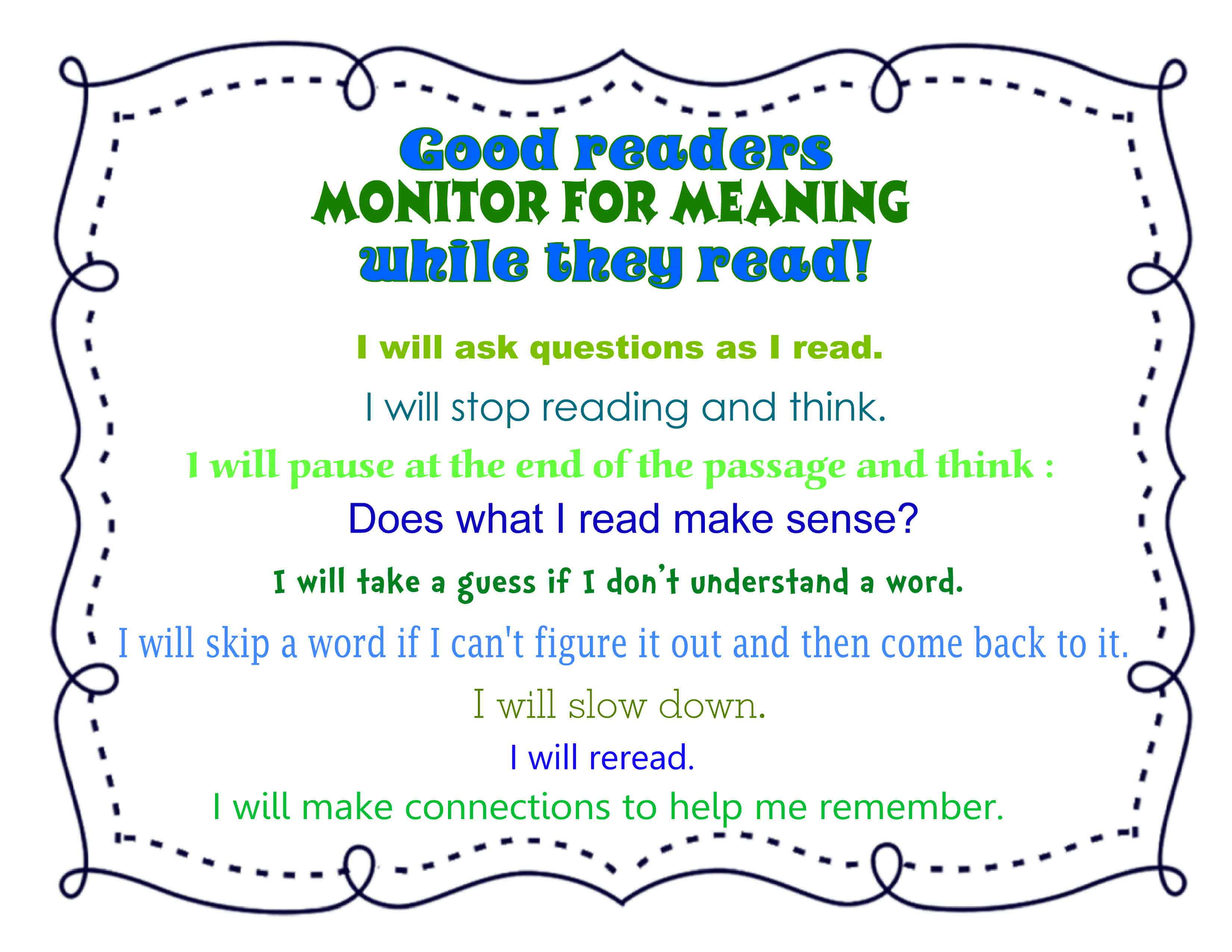 Close Reading:  Monitoring for Meaning