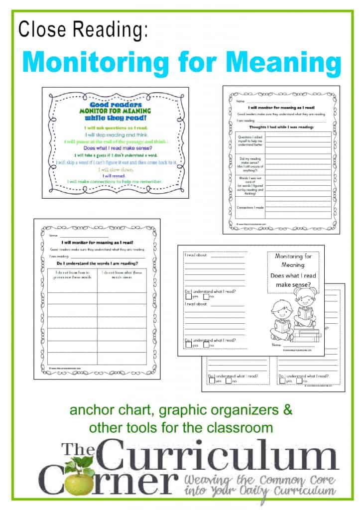 Close Reading:  Monitoring for Meaning Anchor Chart & Graphic Organizers free from The Curriculum Corner