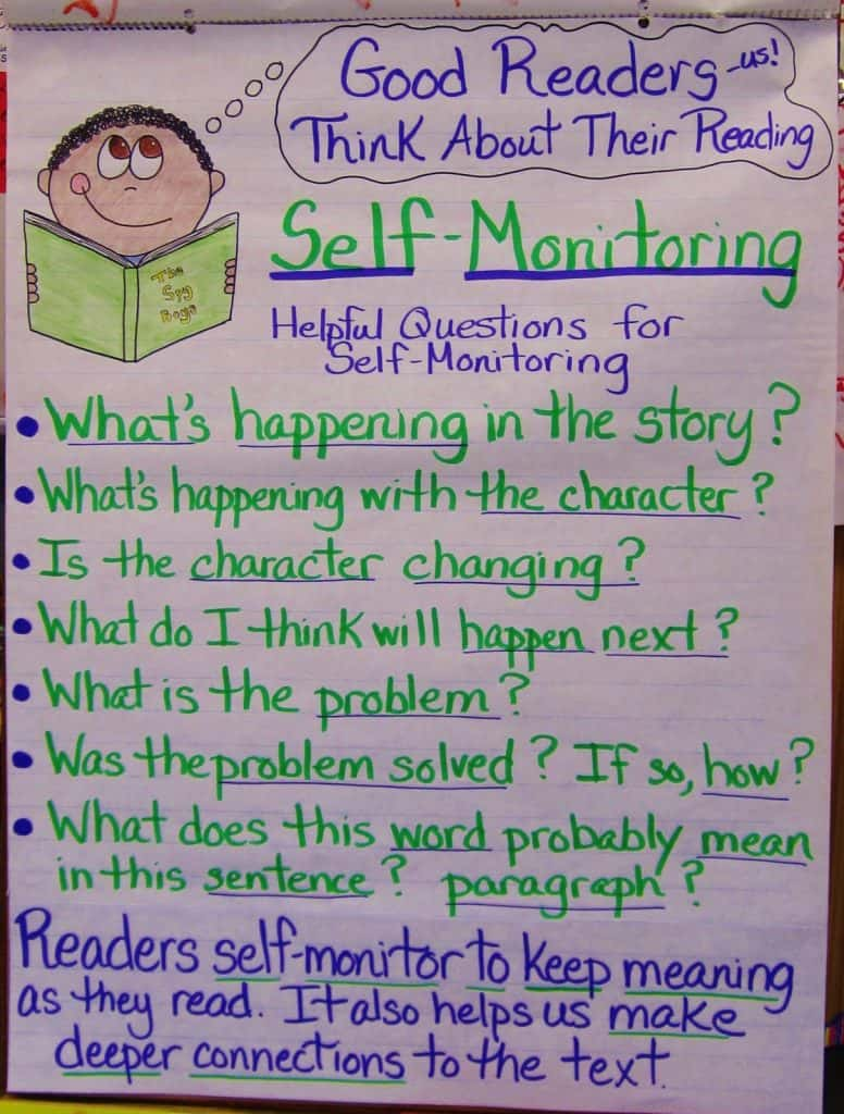 Self Monitoring anchor chart from Teaching My Friends