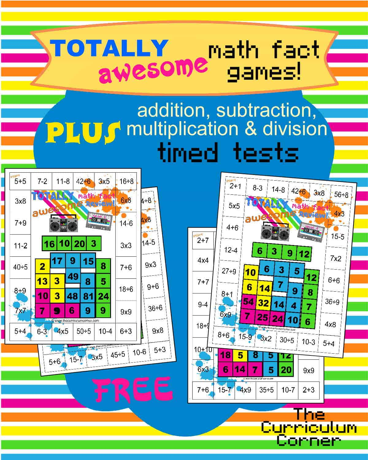 80s Themed Mixed Math Facts Games PLUS +,-,x, & ÷ Timed Tests