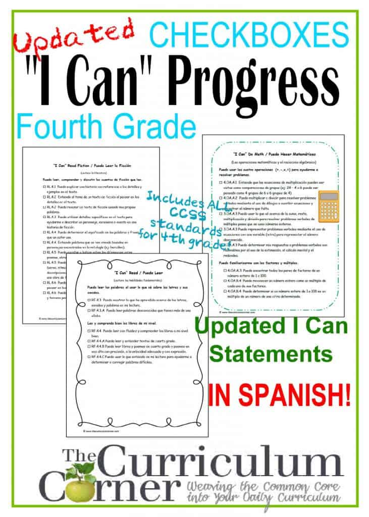 """Common Core """"I Can"""" 4th Grade Standards by The Curriculum Corner FREE CCSS"""