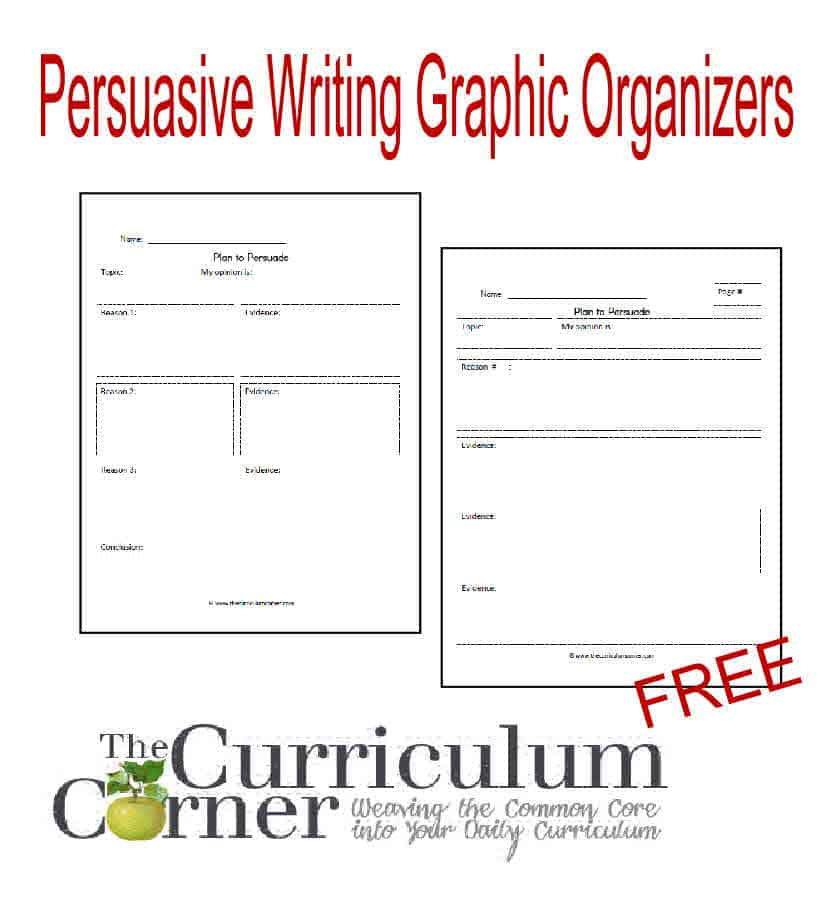 Persuasive Writing Graphic Organizers free from The Curriculum Corner