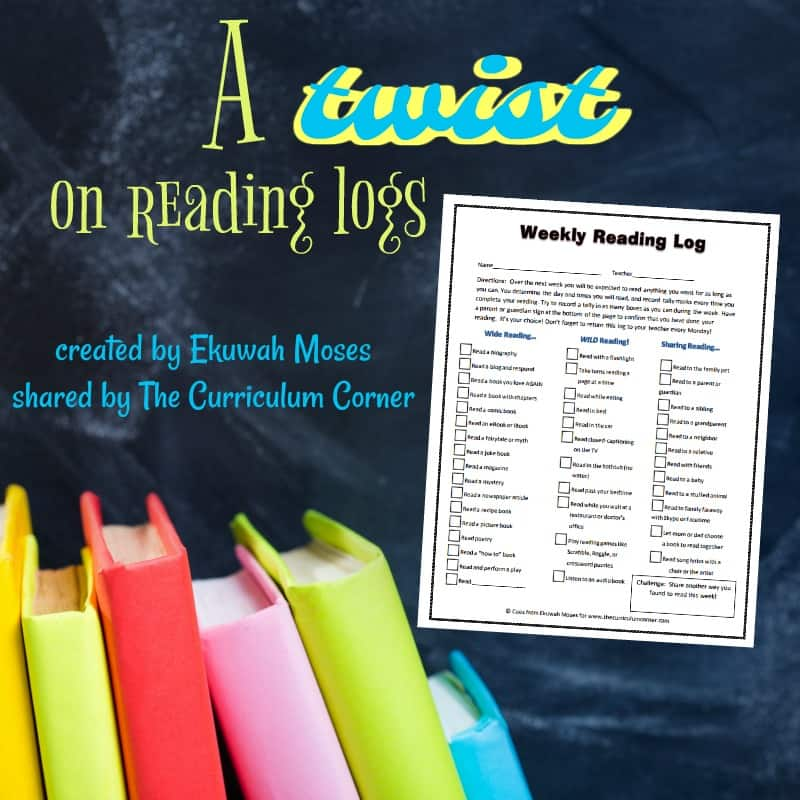 Corner Spotlight:  Ekuwah Moses – A twist on reading logs!