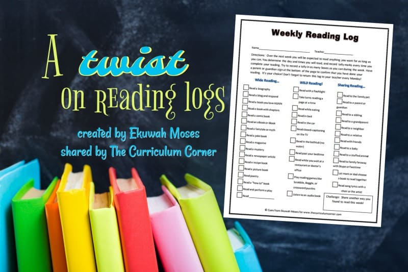 A new reading log designed by Ekuwah Moses and presented by The Curriculum Corner