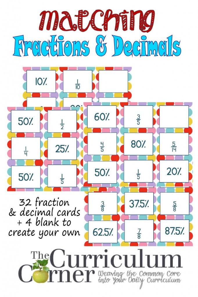decimals amp fractions matching cards the curriculum