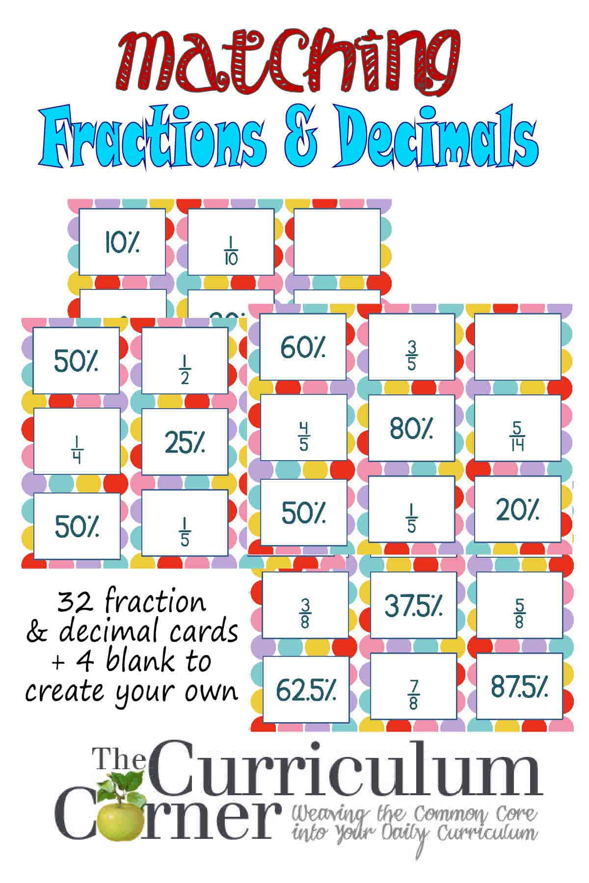 worksheet Decimal To Fraction decimals fractions matching cards the curriculum corner 4 5 6 for math free from corner