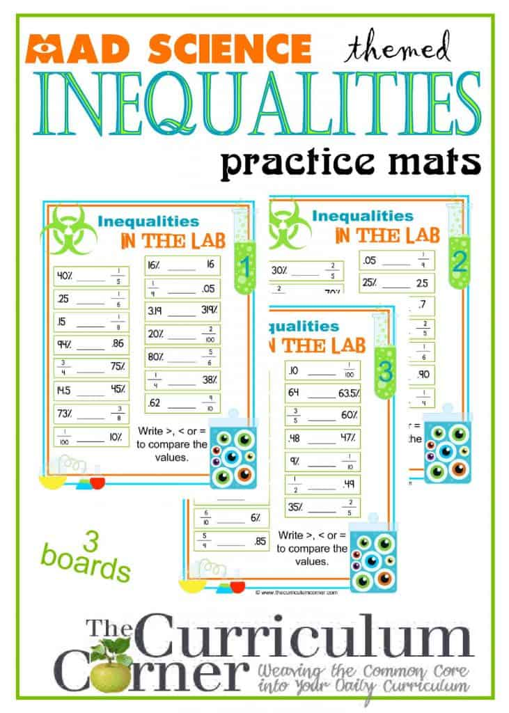 Mad Science Themed Inequalities Practice Boards for the Classroom FREE from The Curriculum Corner | Decimals, fractions & percents