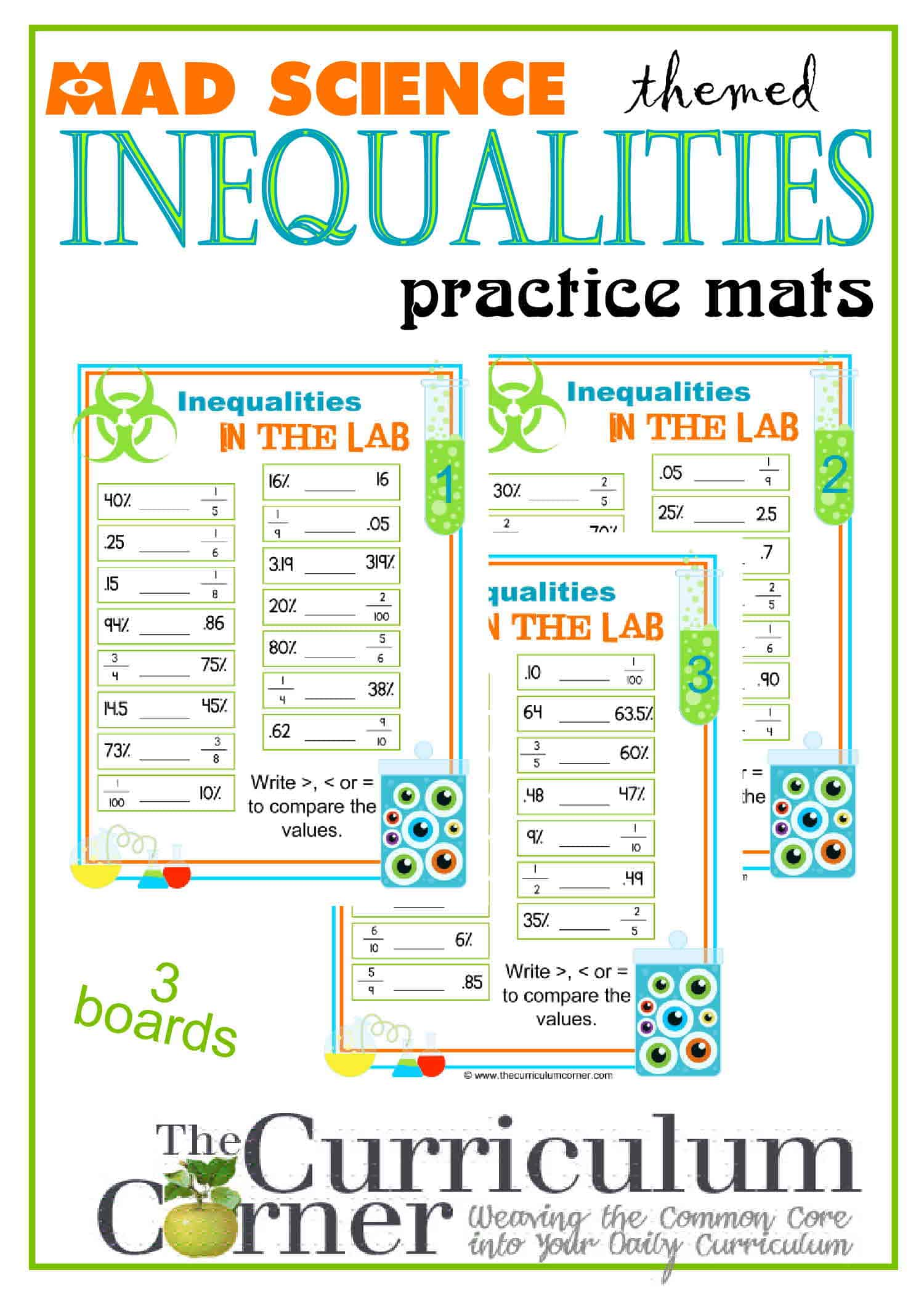 Inequalities | Practice Boards w/ Fractions, Decimals & Percents