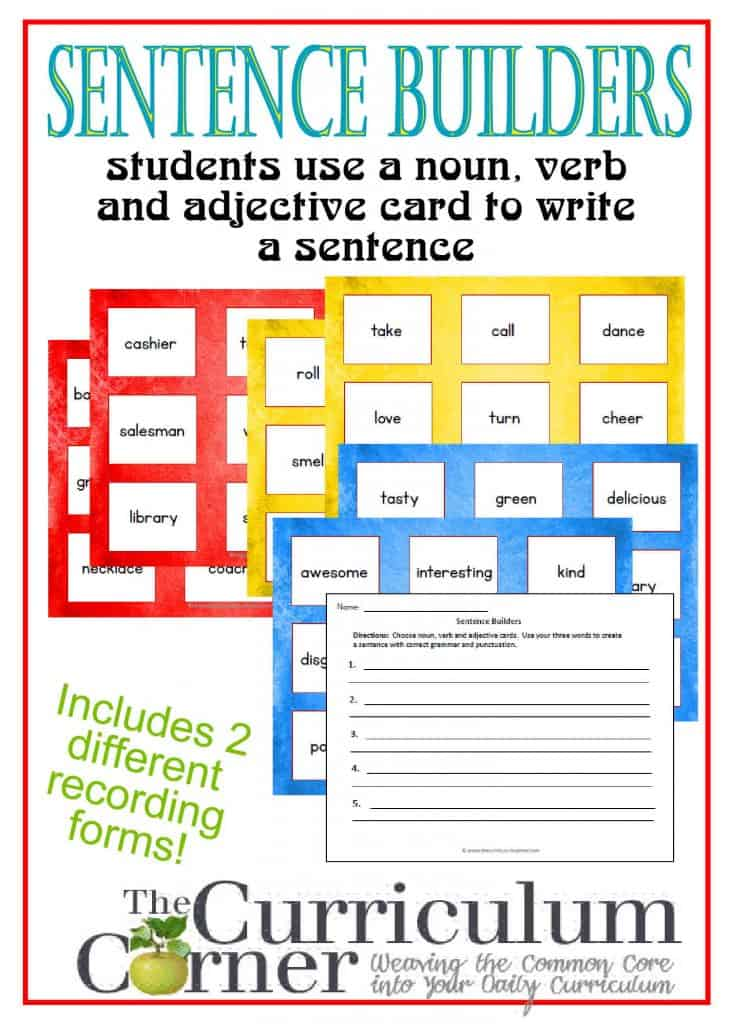 Sentence Builders cards for writing complete sentences - nouns, verbs and adjectives for 3rd, 4th and 5th grade students | FREE from The Curriculum Corner |  Writing Workshop