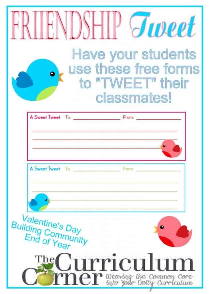 Friendship Tweet for Valentine's Day or Team Building in the Classroom FREE from The Curriculum Corner