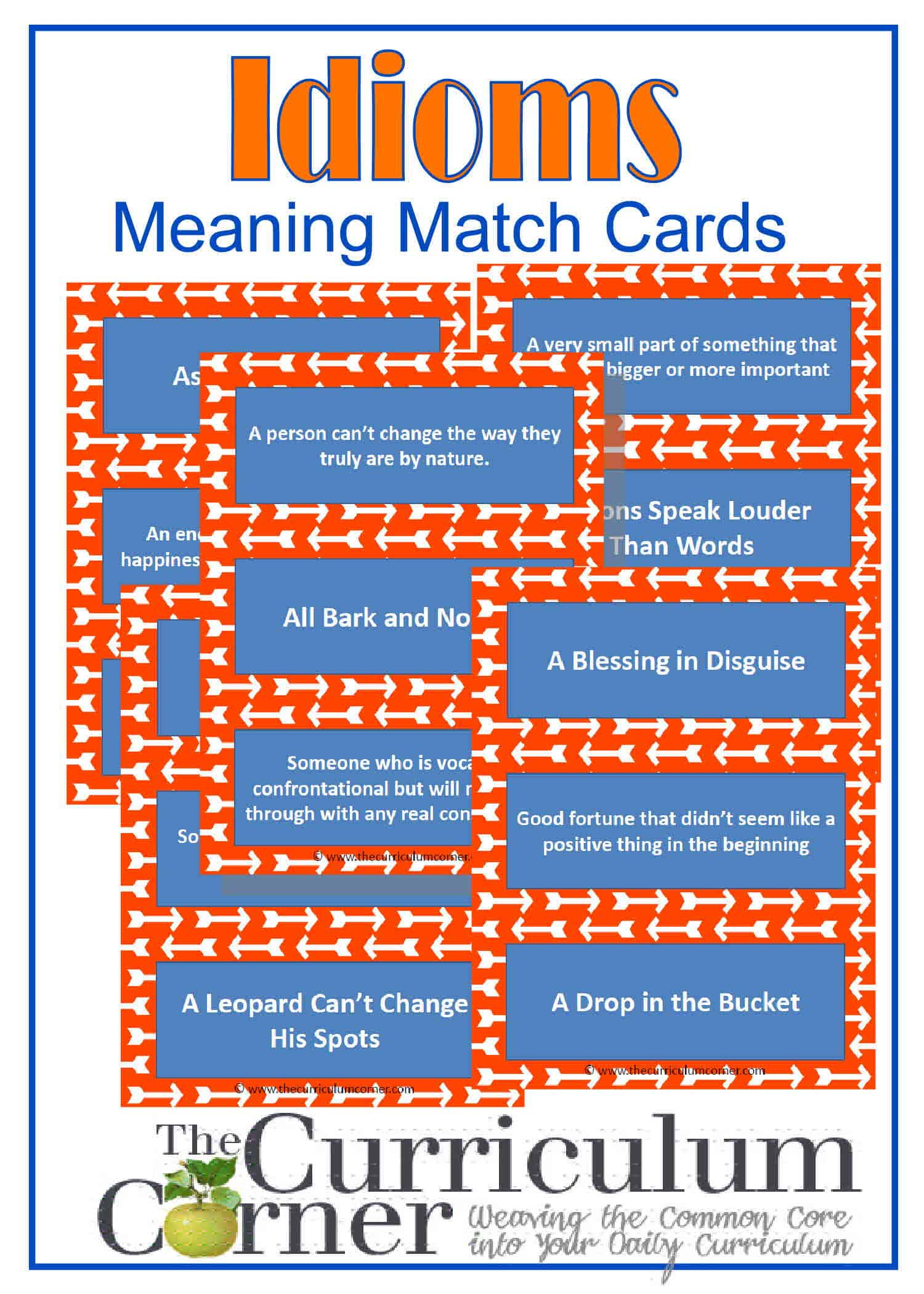 Practice With Idioms Meaning Match Cards The Curriculum Corner 4 5 6