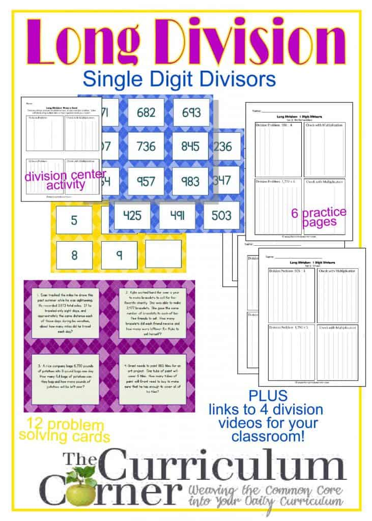 Long Division:  Dividing by a Single Digit Divisor | Center Activity | Practice Pages | Problem Solving Cards | Links to four great division videos