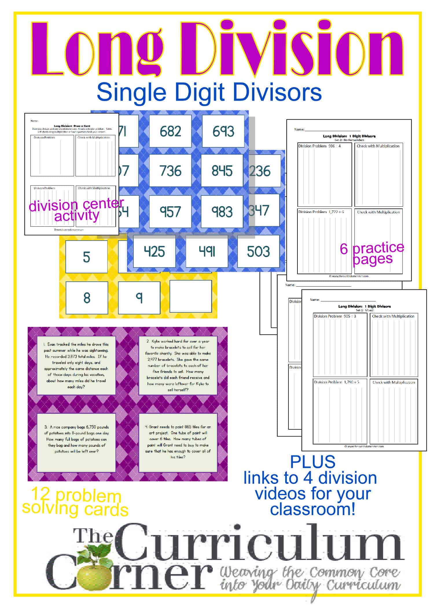 long division resources 1 digit divisor the curriculum corner 4 5 6. Black Bedroom Furniture Sets. Home Design Ideas