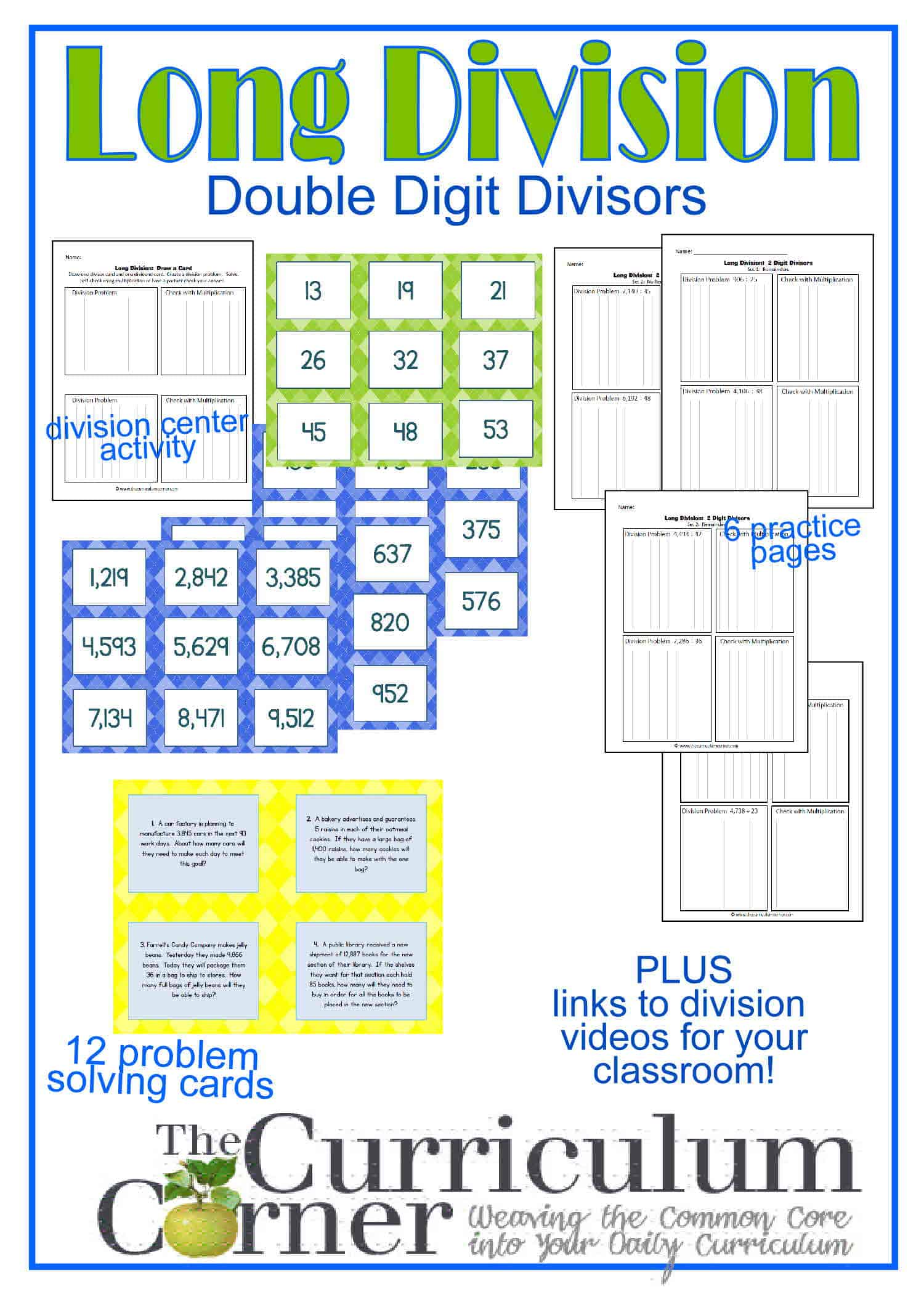 Worksheet Dividing Double Digit Numbers long division resources 2 digit divisor the curriculum corner ong dividing by a double center activity practice pages