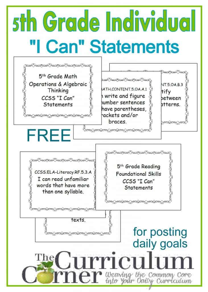 "5th Grade Free Individual ""I Can"" Statements from The Curriculum Corner for tracking CCSS and daily goal setting"