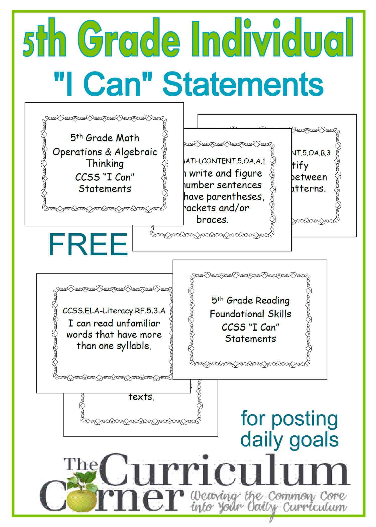 "5th Grade Individual ""I Can"" Statement Posters (One Per Page)"