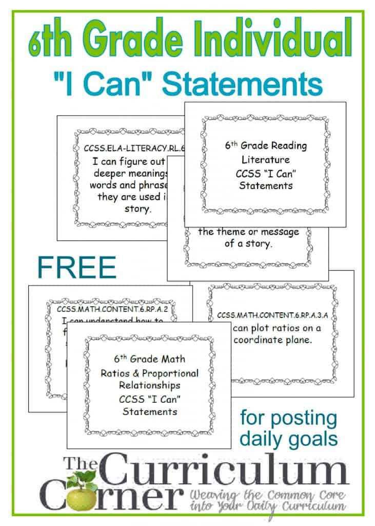 """6th Grade Free Individual """"I Can"""" Statements from The Curriculum Corner for tracking CCSS and daily goal setting"""