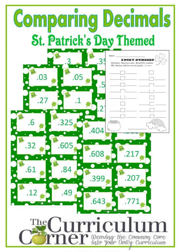 Comparing Decimals St. Patrick's Day Themed Activity from The Curriculum Corner | 4th Grade Standards |  FREE