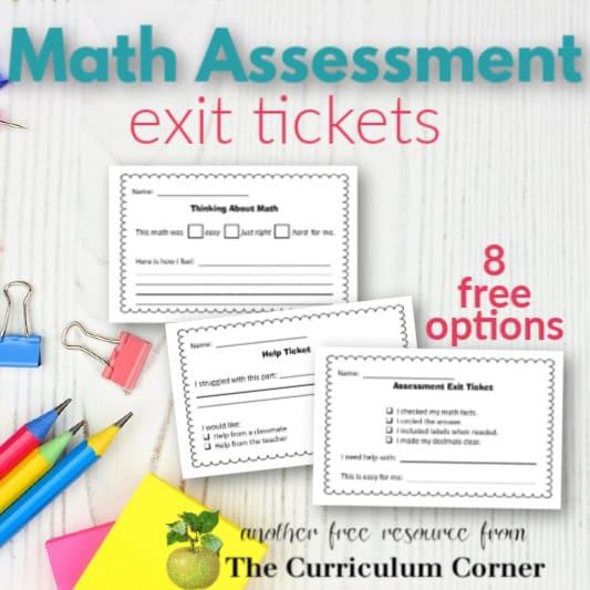 Math Assessment Exit Tickets