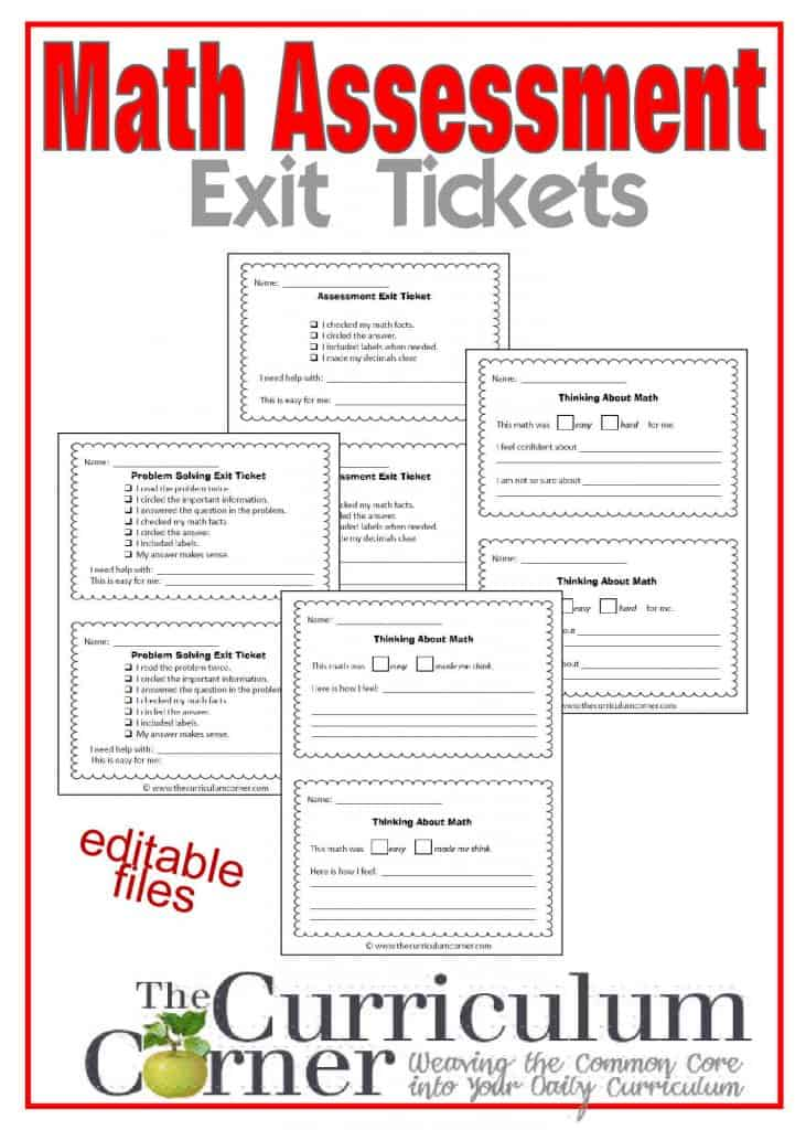 Math Assessment Exit Tickets free from The Curriculum Corner