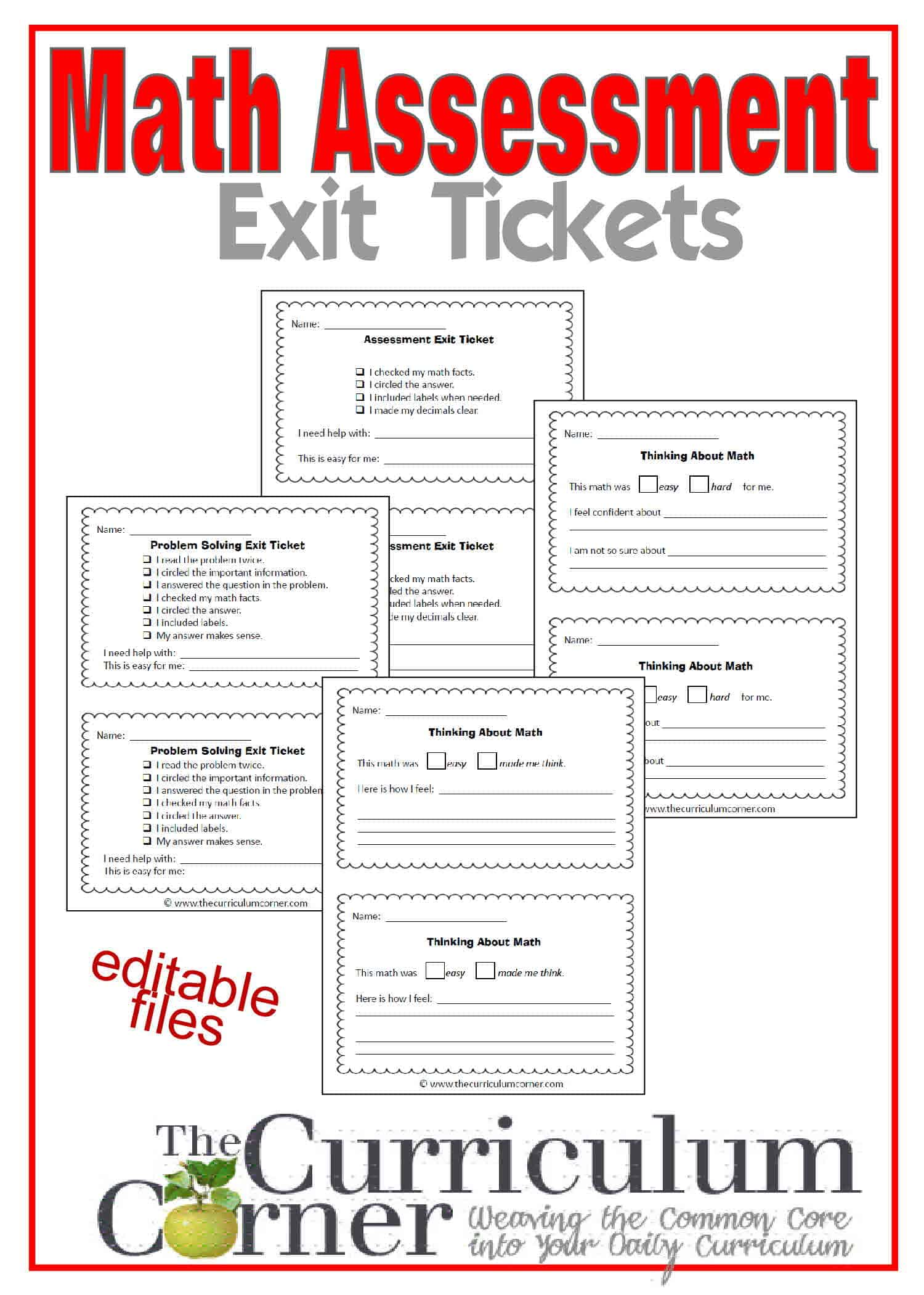 Math Assessment Exit Tickets