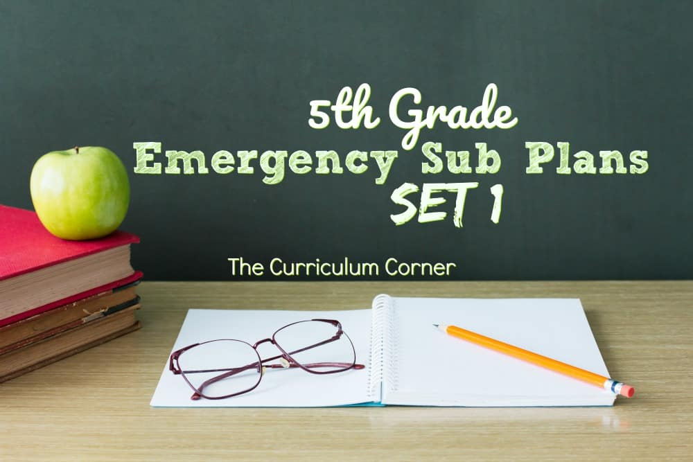 5th Grade Emergency Sub Plans Set 1 from The Curriculum Corner