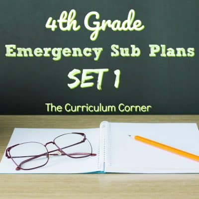 4th Grade Emergency Sub Plans