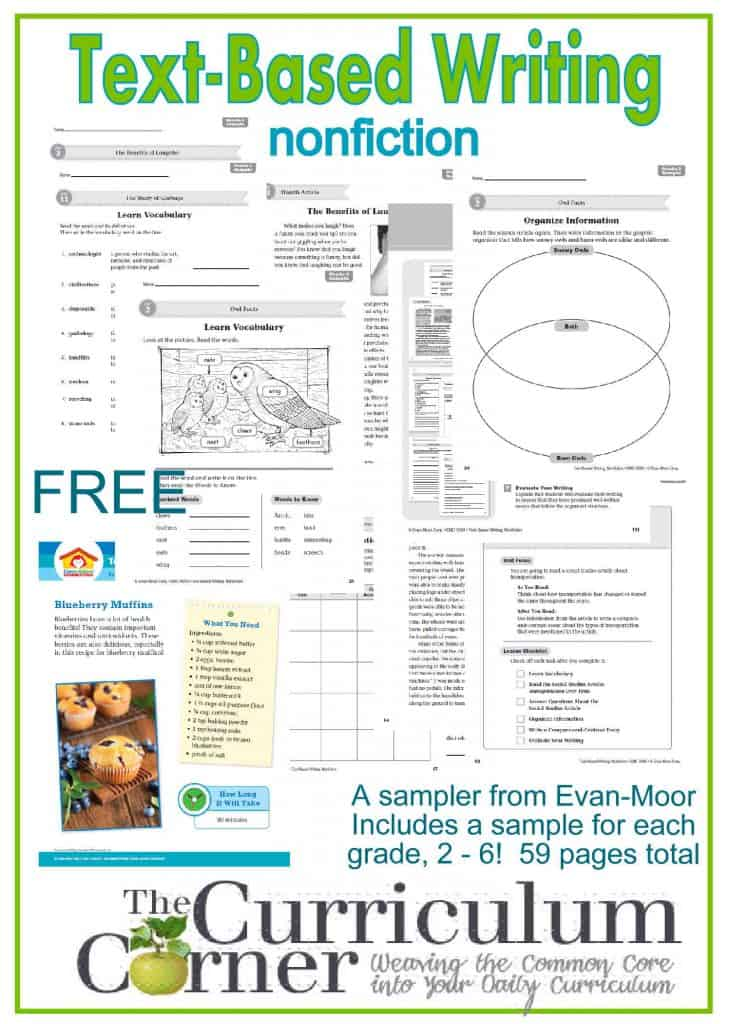 Text-Based Writing Nonfiction Sampler FREE from The Curriculum Corner & Evan-Moor | 59 pages with a sample for each grade, 2 - 6  Great find!