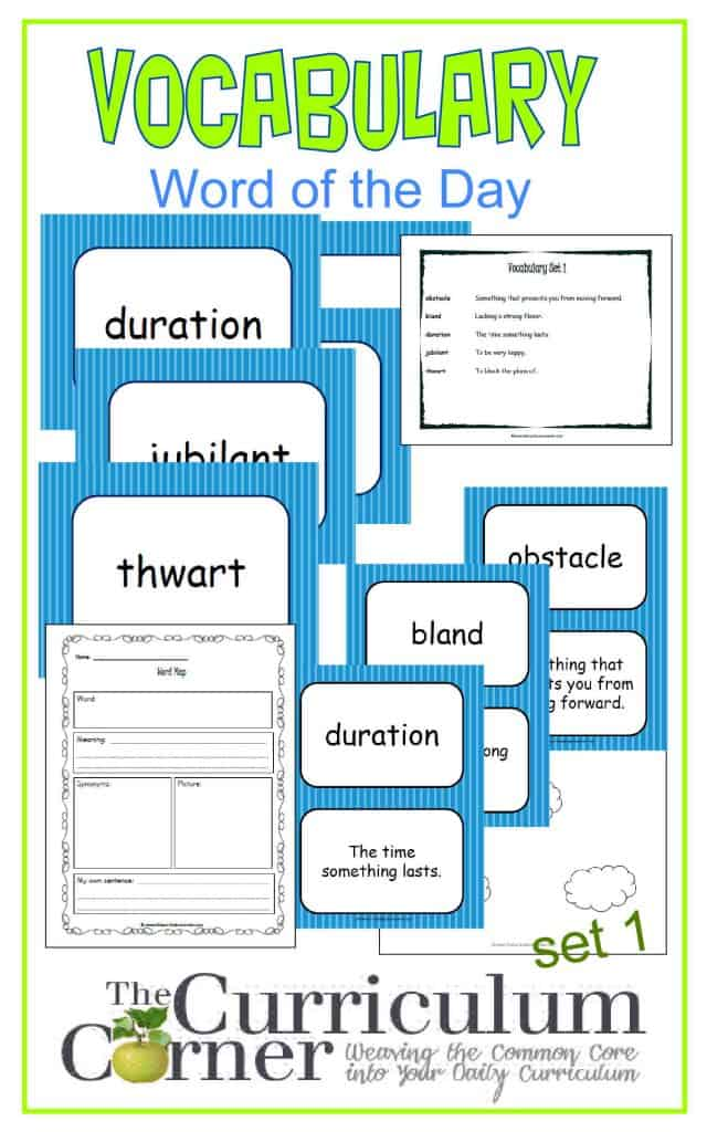 Vocabulary Word of the Day Set 1 FREE from The Curriculum Corner | includes word map