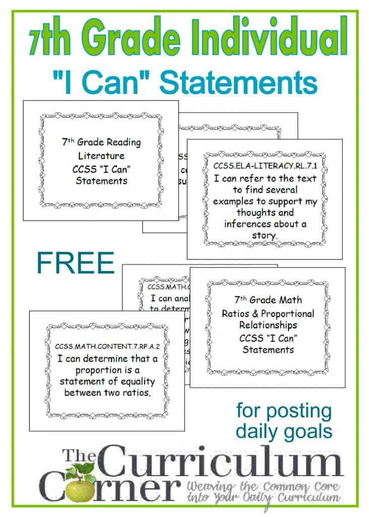 "7th Grade Free Individual ""I Can"" Statements from The Curriculum Corner for tracking CCSS and daily goal setting"