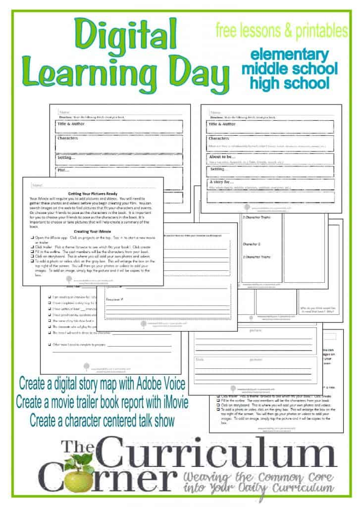 Digital Learning Day lessons and printables for elementary, middle school and high school classrooms, free from The Curriculum Corner