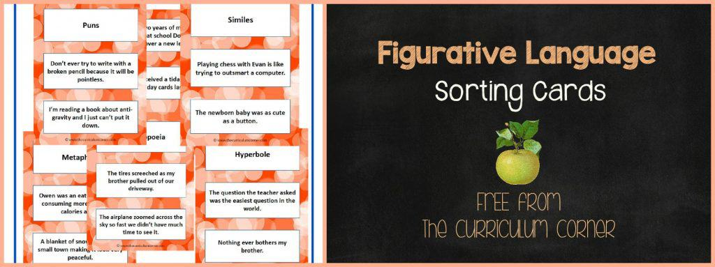 FREE Figurative Language Sorting Cards from The Curriculum Corner | Literacy Centers | Reading Workshop | The Curriculum Corner | 4th & 5th Grades FREEBIE
