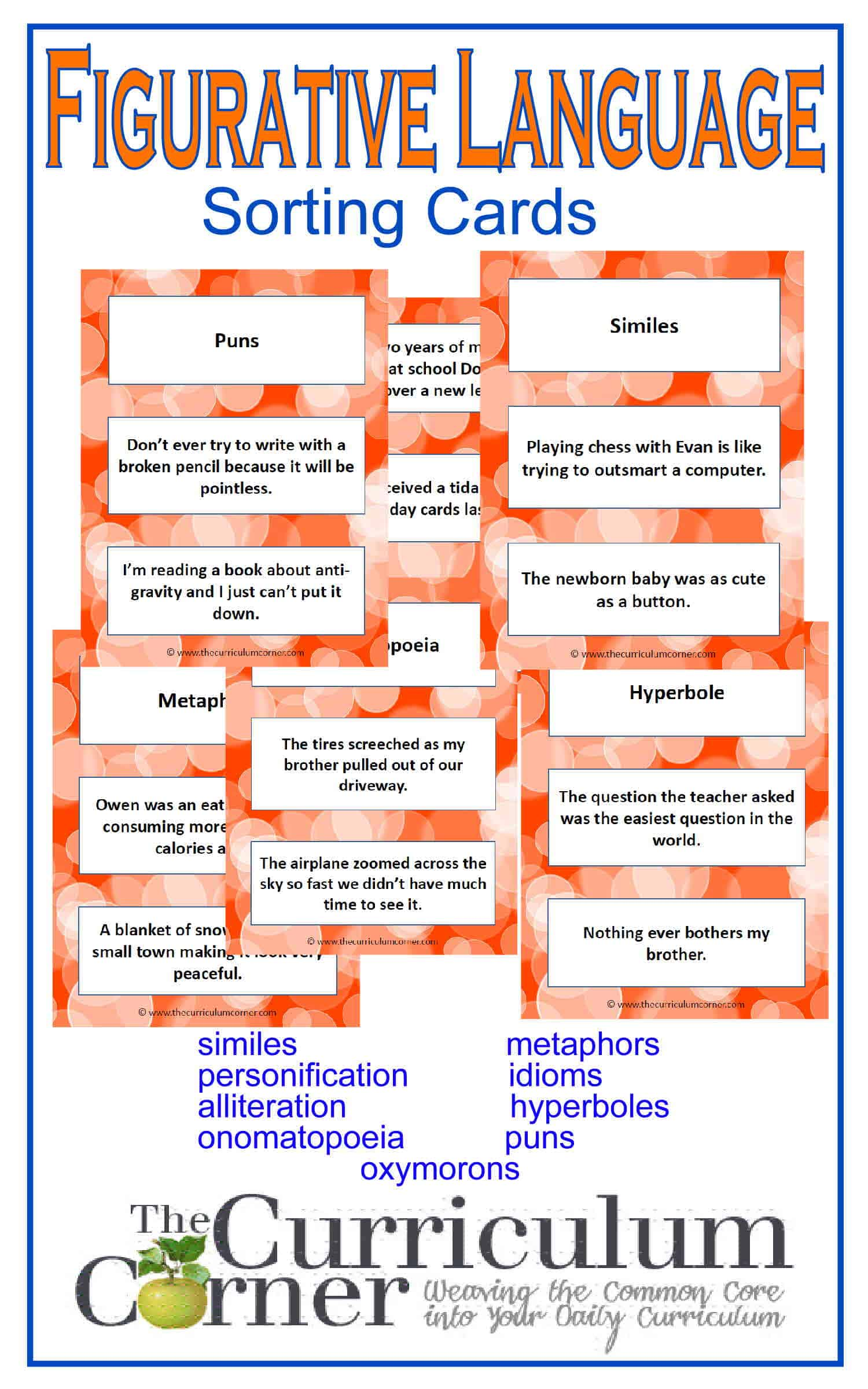 Figurative Language Cards The Curriculum Corner 4 5 6