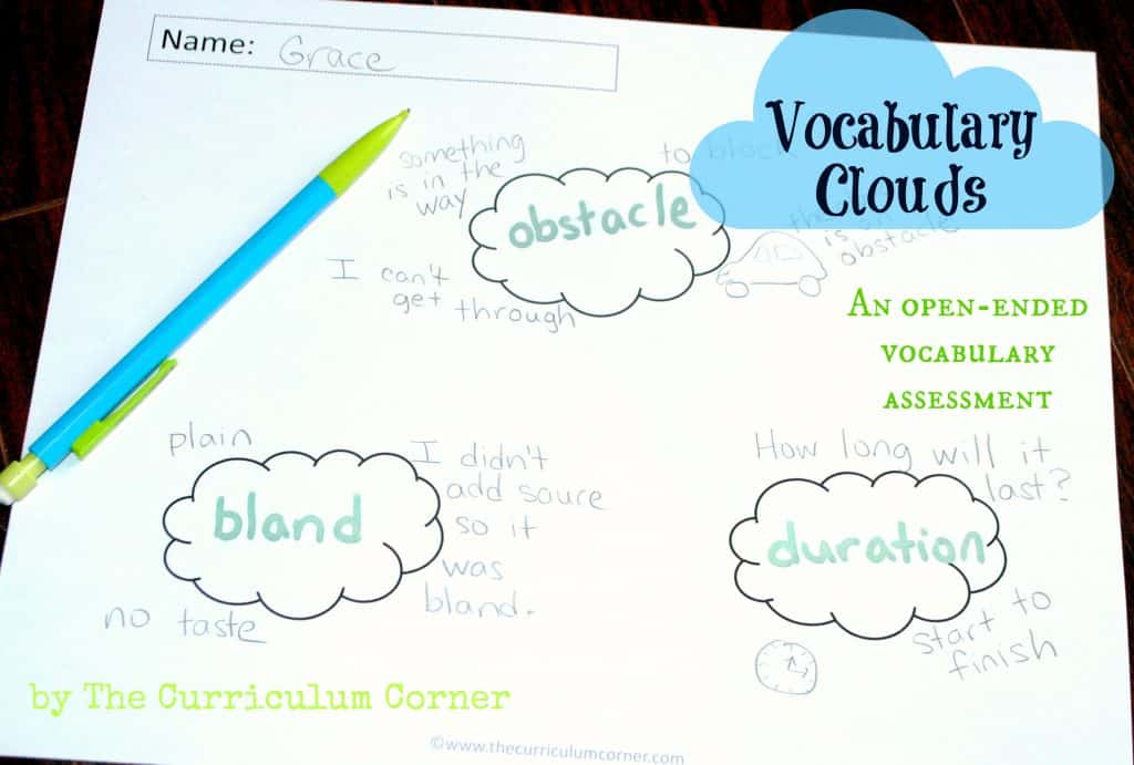 Vocabulary Clouds: An Open-Ended Vocabulary Assessment by The Curriculum Corner