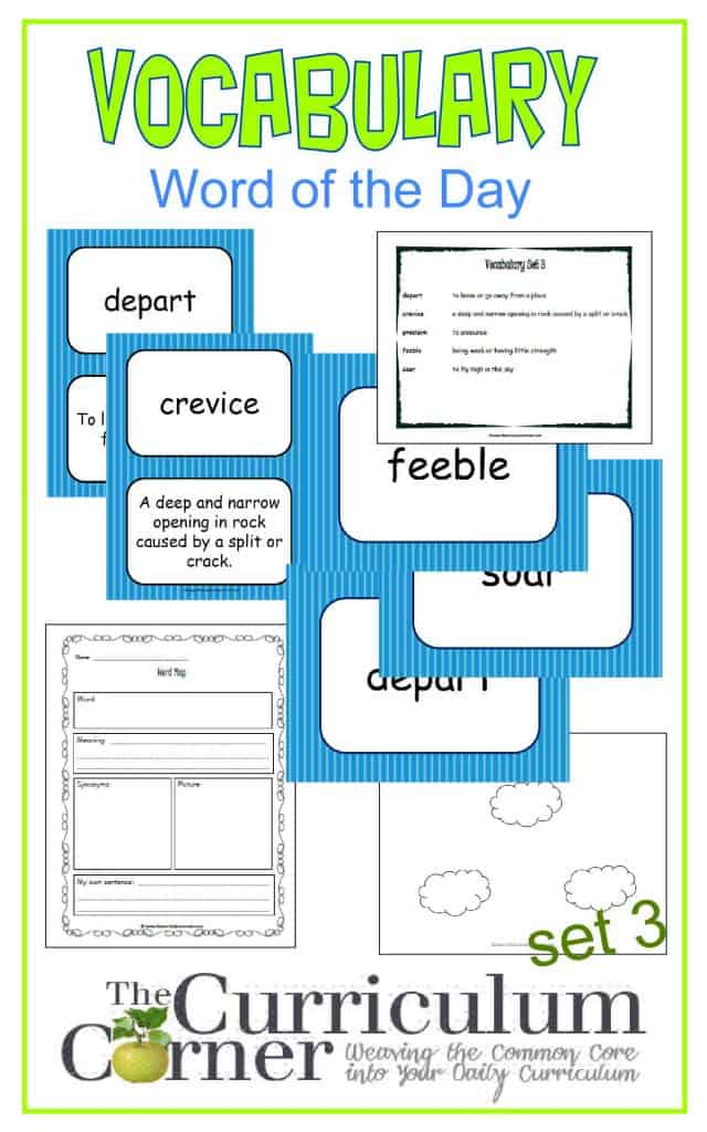 Vocabulary Word of the Day Set 3 FREE from The Curriculum Corner | includes word map