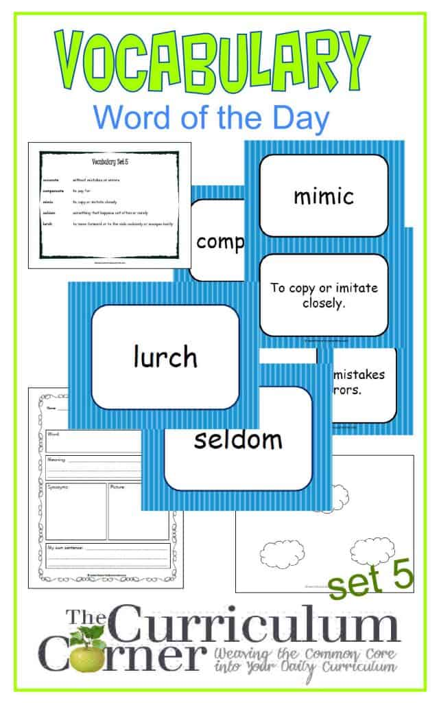 Vocabulary Word of the Day Set 4 FREE from The Curriculum Corner | includes word map