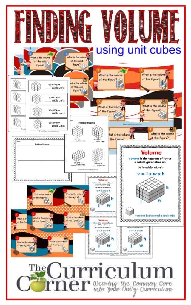 Finding Volume Using Unit Cube by The Curriculum Corner | 3 sets of free task cards | anchor chart | interactive notebook inserts