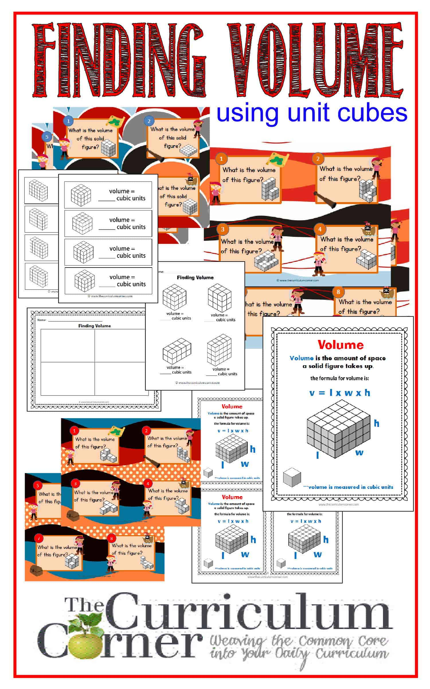 Finding Volume Using Unit Cube By The Curriculum Corner  3 Sets Of  Free Task Cards