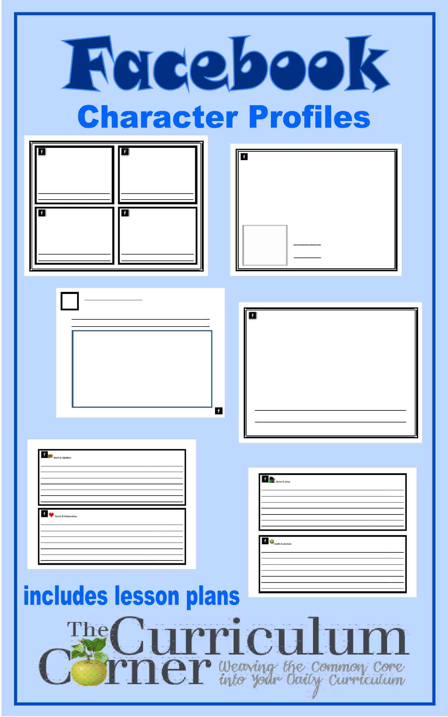 facebook lesson plan template - character facebook profile the curriculum corner 4 5 6